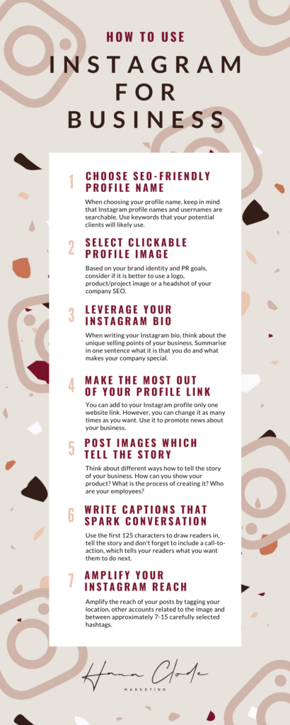 Infographic - How to Use Instagram Account for Interior Business by Hana Clode Marketing.