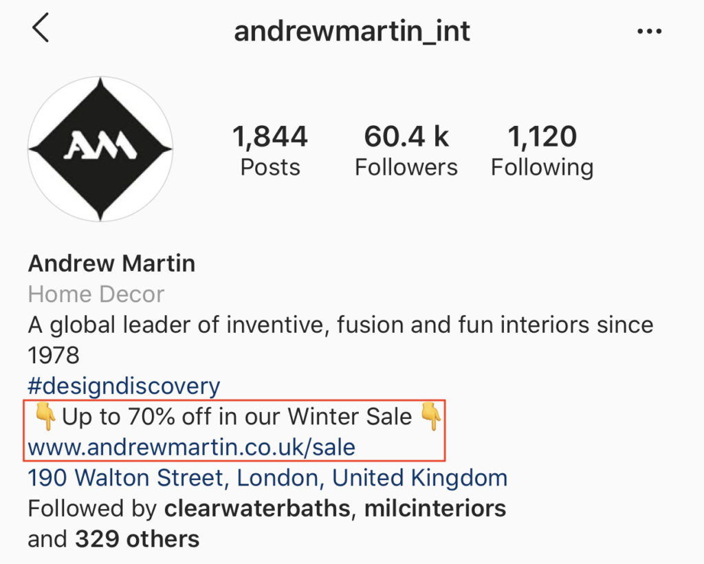 Example of 'call to action' user in the Instagram bio, part of the article by Hana Clode Marketing 'How to Use Instagram Account for Interior Business'.
