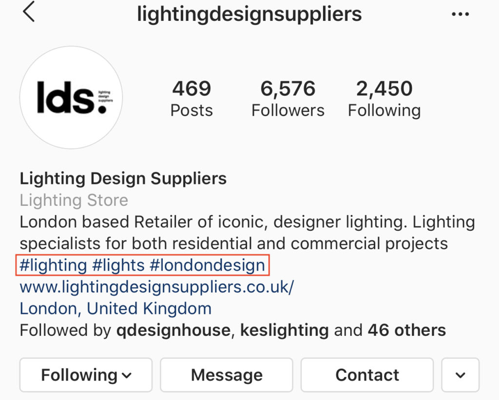 Using hashtags in the Instagram bio, part of the article by Hana Clode Marketing 'How to Use Instagram Account for Interior Business'.