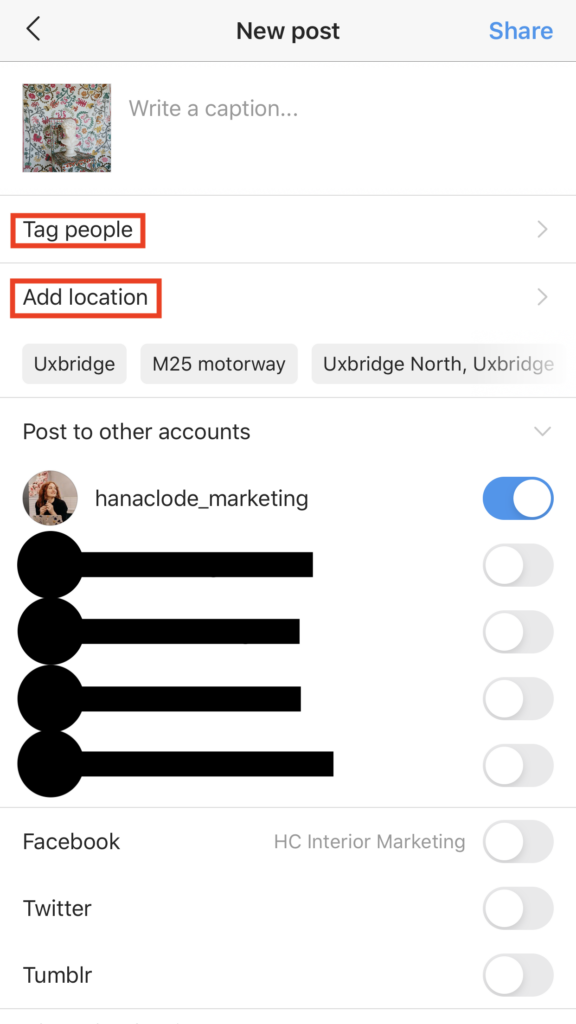 How to tag another accounts and location in your Instagram post. Blog post How to Use Instagram Account for Interior Business by Hana Clode Marketing.