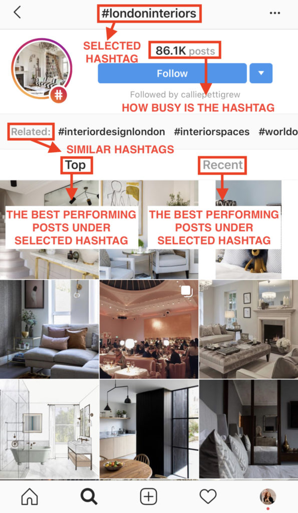 When you expand the view of the selected hashtag in Tags tab in Instagram Discovery, you can choose between Top and Recent posts, you will see how popular the hashtag is and even be suggested hashtags related to the selected one. Blog post How to Use Instagram Account for Interior Business by Hana Clode Marketing.