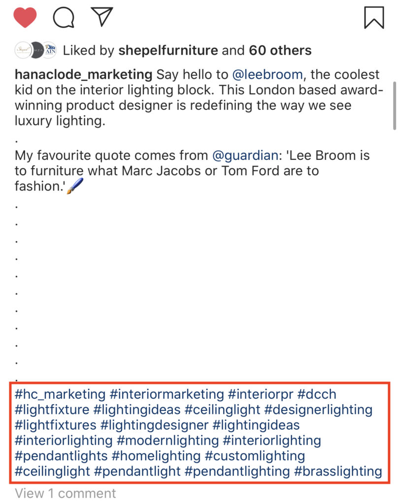Finding hashtags under other people's posts. Blog post How to Use Instagram Account for Interior Business by Hana Clode Marketing.