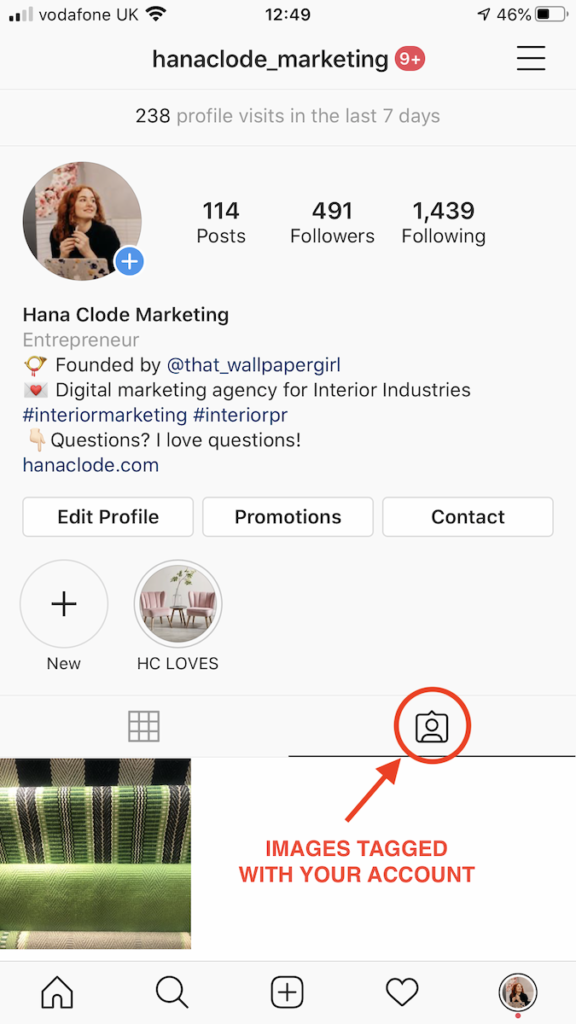 This is where appear posts in which was your Instagram account tagged. Blog post How to Use Instagram Account for Interior Business by Hana Clode Marketing.