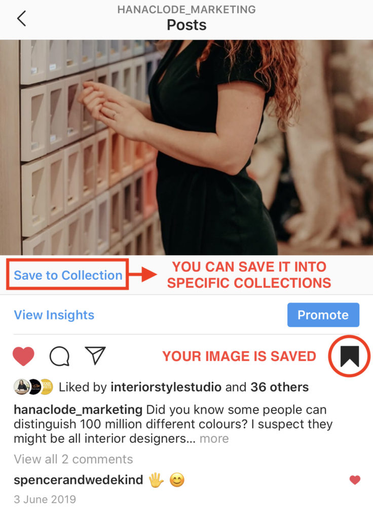 How to save image on Instagram. Blog post How to Use Instagram Account for Interior Business by Hana Clode Marketing.