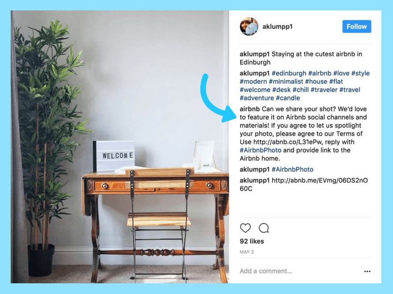 Example of how AirBnB requests permission to repost user generated content. Blog post How to Use Instagram Account for Interior Business by Hana Clode Marketing.