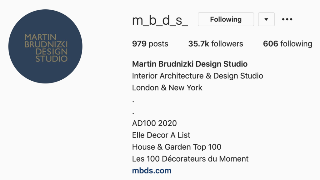 Screenshot of Martin Brudnizki Design Studio Instagram profile, highlighting the importance of regularly updating your Instagram bio. Part of the article '7 Marketing Projects to Keep You Productive During Quarantine' by Hana Clode Marketing.