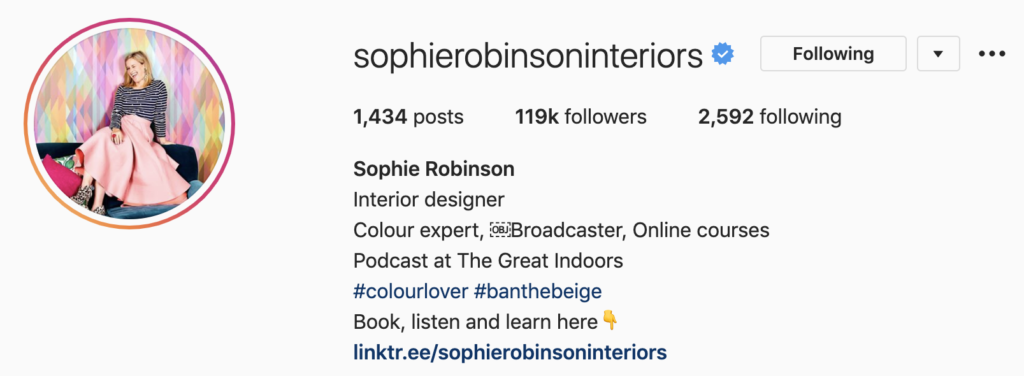 Screenshot of Sophie Robinson's Instagram profile, highlighting the importance of regularly updating your Instagram bio. Part of the article '7 Marketing Projects to Keep You Productive During Quarantine' by Hana Clode Marketing.