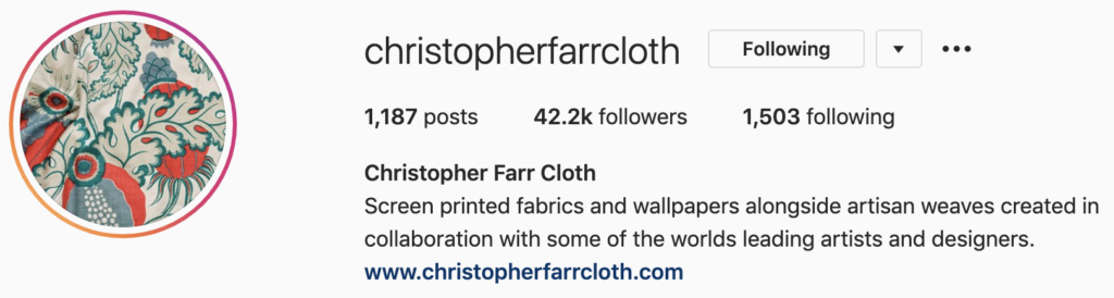 Screenshot of Christopher Farr Cloth's Instagram profile, highlighting the importance of regularly updating your Instagram bio. Part of the article '7 Marketing Projects to Keep You Productive During Quarantine' by Hana Clode Marketing.