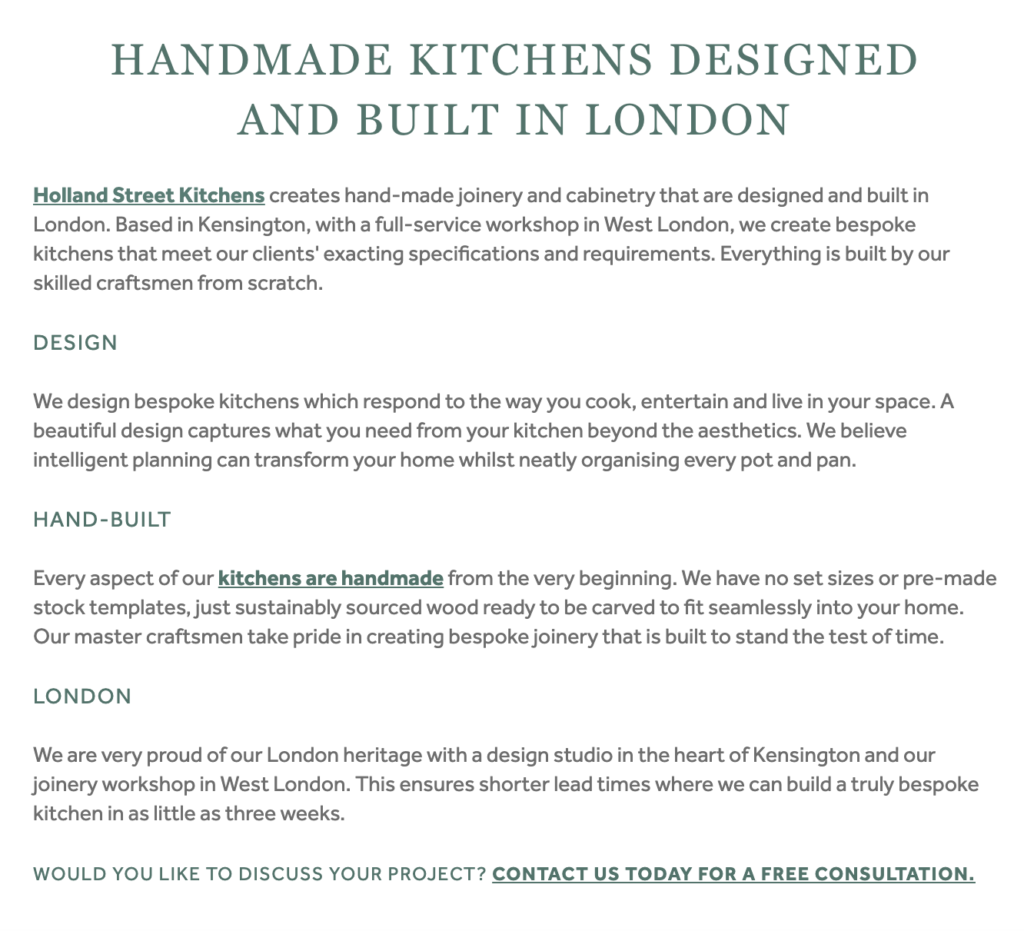Screenshot of Holland Street Kitchens' BIID profile, highlighting the importance of regularly updating company information on online directories. Part of the article '7 Marketing Projects to Keep You Productive During Quarantine' by Hana Clode Marketing.