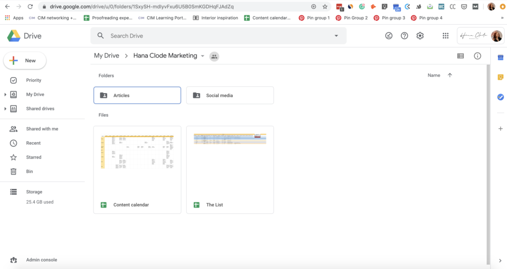 Screenshot of Google Drive is highlighting the importance of file organisation. Part of the article '7 Marketing Projects to Keep You Productive During Quarantine' by Hana Clode Marketing.