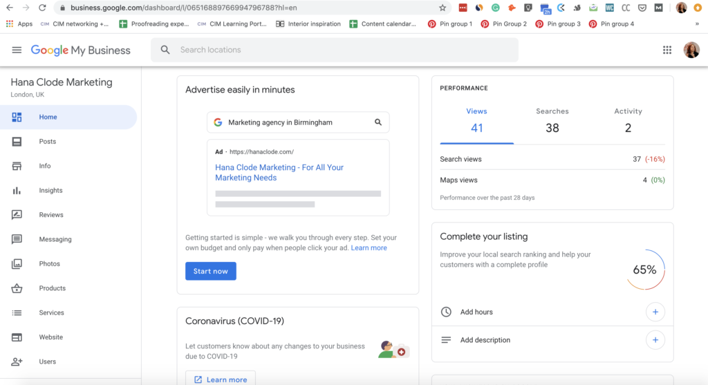 Screenshot of Google Business page, highlighting the importance of regularly updating company information on online directories. Part of the article '7 Marketing Projects to Keep You Productive During Quarantine' by Hana Clode Marketing.